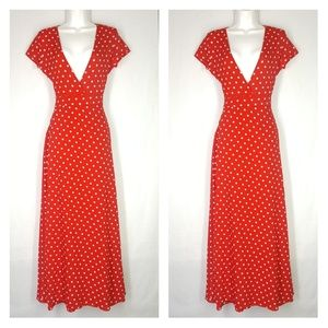 Amy fashion red maxi dress, polcadots, size small.